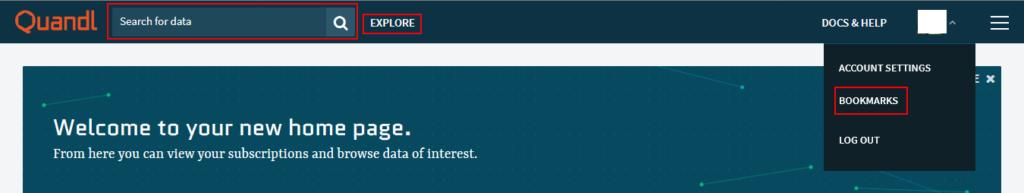 A Quandl.com kezdőlapja belépés után, kiemelve a keresés, a böngészés, és a könyvjelzők lehetőséget.